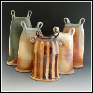 woodfired oblong vases